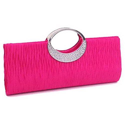 Clutch Handbag Purse Pleated Red SUMAJU Wallet Womens Satin Blue Wedding Rose Rhinestone Evening Party xvACanqY6w