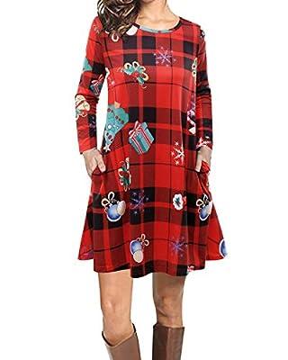 VIUVIU Women Casual Long Sleeve Loose Checkered Plaid Swing Christmas Tunic T-Shirt Dress with Pocket