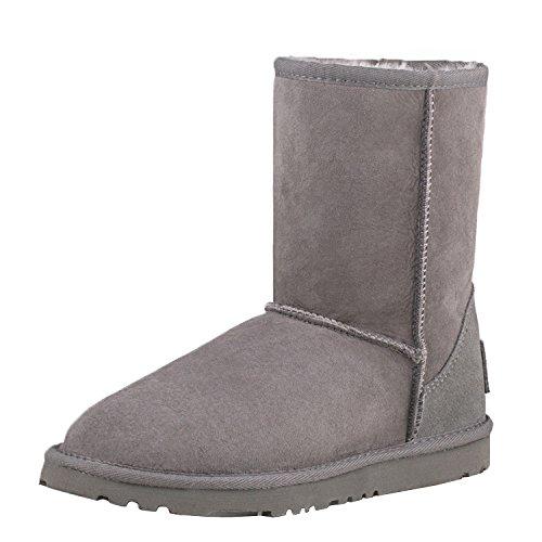 Shenduo Damen Kunstfell Stiefel Halb Schlupfstiefel Winterschuhe Klassisch Boots DV5825 Grau