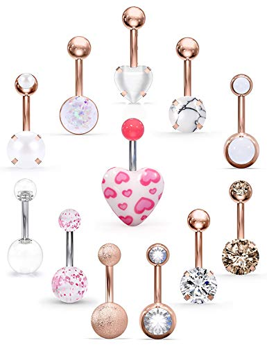 Lcolyoli 12Pcs Belly Button Rings Stainless Steel 14G CZ Opal Marble Stone Heart Navel Rings Barbells Studs Women Girls…