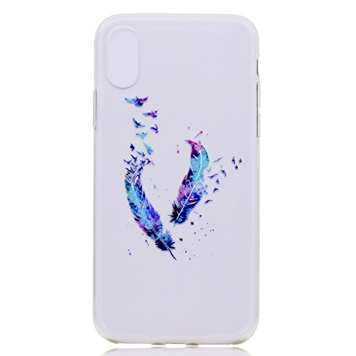 iPhone X Coque , Leiai Transparent Mode Ultra-mince Clear Plume Silicone Doux TPU Housse Gel Etui Case Cover pour Apple iPhone X