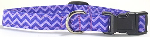 Ruff Roxy Purple Chevron Dog Collar (XS) by Ruff Roxy