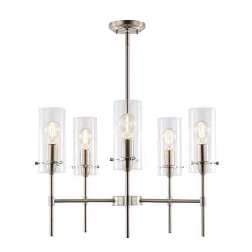 Chandelier Nickel Rectangular (Light Society Montreal Cylindrical 5-Light Chandelier Pendant, Satin Nickel with Clear Glass Shades, Contemporary Modern Lighting Fixture (LS-C239-SN-CL))