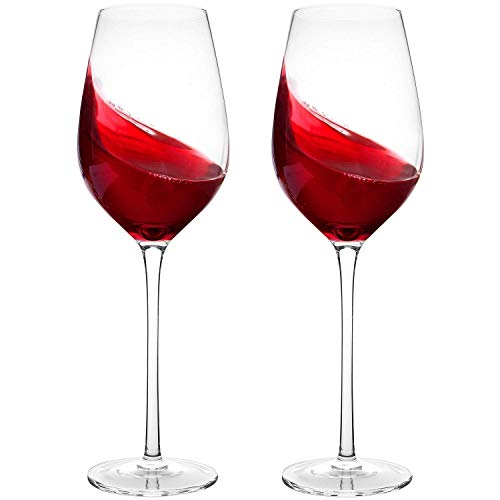 Hand Blown Crystal Wine Glasses - Bella Vino Standard Red/White Wine Glass Made from 100% Lead Free Premium Crystal Glass, Perfect for Any Occasion, Great Gift, Set of 2, Clear ...