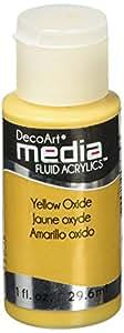 Deco Art Media Fluid Acrylic Paint, 1-Ounce, Yellow Oxide