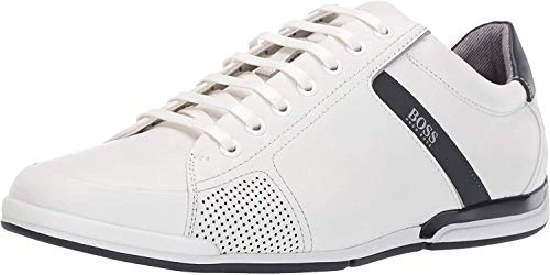 Hugo Boss BOSS Men's Saturn Leather Sneaker by BOSS (12 M(D) US / 11 UK / 45 EU, White)