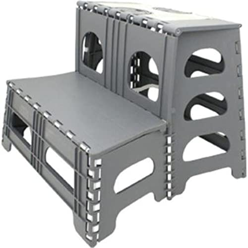 Range Kleen SS2 Double Step Gray Folding Stool 19.5 Inches L By 20 Inches W  By 17 Inches H