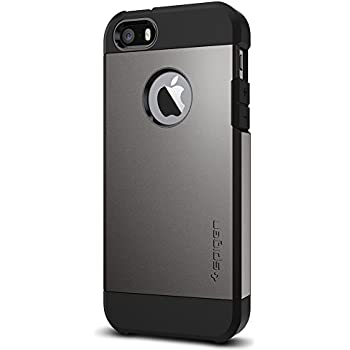 Spigen Tough Armor iPhone SE Case with Extreme Heavy Duty Protection and Air Cushion Technology foriPhone SE / 5S / 5 - Gunmetal