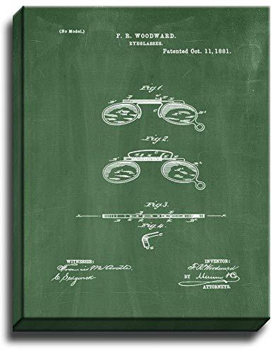 Eyeglass Patent Art Gallery Wrapped Canvas Print Green Chalkboard (8