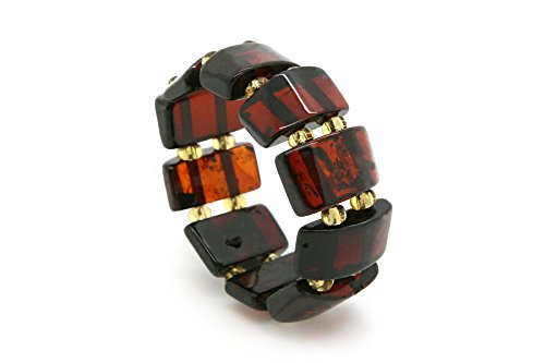 Genuine Natural Baltic Cherry Amber Adjustable Stretch Ring for Women