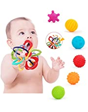 HOLYFUN Baby Teether & Sensory Balls Toys, Rattle Teething Toy for Babies 6-12 Month, Textured Relief Stress Soft Balls, Infant Newborn Toddler Early Developmental Boy Girl Toy Gift Set 0-24 Month