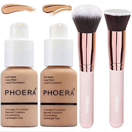Phoera Foundation 104 and 105,Full Coverage Foundation,Hilareco Concealer Foundation Flawless 30ml Natural Matte Oil Control Concealer Facial Blemish for Women Girls (Buff Beige #104)(Sand #105)