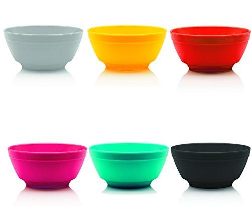 Ou Premium Design- Unbreakable Luna Bowls, Set of 6 (12 oz, Assorted Colors)