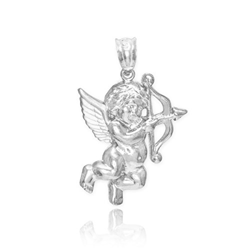 - Fine 925 Sterling Silver Bow and Arrow Angel Love Cupid Charm Pendant