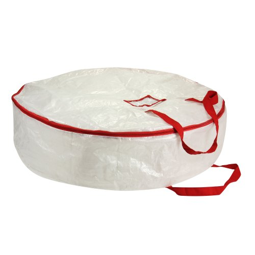 Household Essentials 2630 Heavy Duty Christmas Wreath Storage Bag with Red Trim - Holds Large Xmas Wreaths up to 30 inches