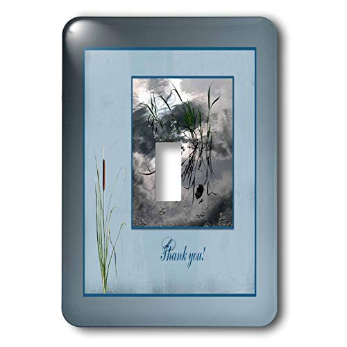 3dRose Beverly Turner Thank you Design - Thank you, Frog in a Pond Photo, Cattails Accent, Blue Frame - Light Switch Covers - single toggle switch (lsp_286999_1)