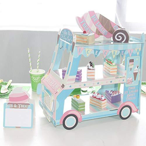 Ice Cream Bus Cupcake Stand Decorating Kit Cardboard Dessert Display -
