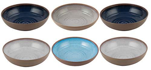 | Shatter-Proof and Chip-Resistant Melamine Pasta Bowls Color Multicolor Clay Collection Melange 6-Piece 100/% Melamine Pasta Bowl Set