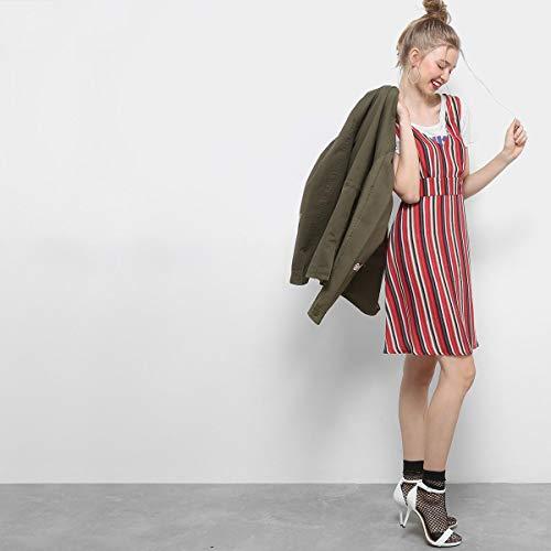 Vestido Drezzup Evasê Curto Listrado Alças - Vermelho+Preto - G