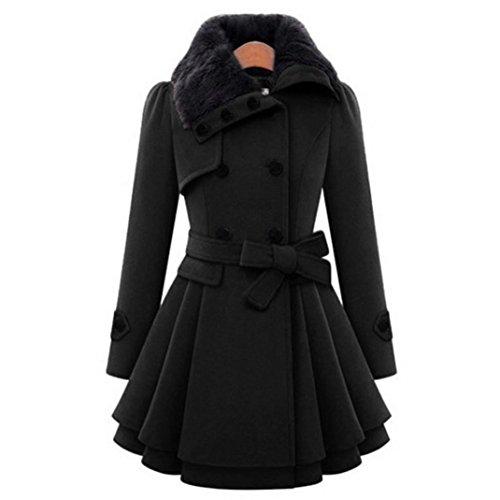 Ladies Swing Coat (Dressin Women's Classic Long Trendy Double Breasted Pea Coats With Belt Dress Casual Cardigan Jacket Outwear (Black, L))