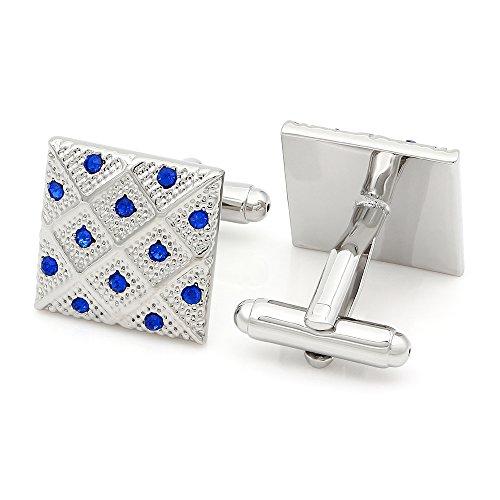 Kemstone Sapphire Crystal Chequer - Sapphire Cufflinks