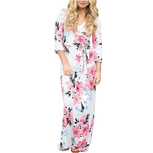 ❤️ Vestido Camisero Bohemia para Mujer,Vestido de Moda de Manga Larga con Cuello en V Manga Mini Vestido de Moda Absolute Blanco B