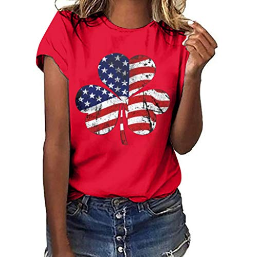 YEZIJIN Women Plus Size Clover Independence Day Print Short Sleeve T-Shirt Blouse Tops 2019 New Sexy T-Shirt ()