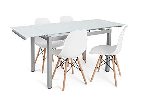 Noorsk Design Conjunto formado por Mesa de Comedor o Cocina Extensible Perl + 4 sillas Tower