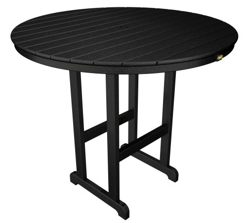 Round 48 Inch Bar - Trex Outdoor Furniture TXRBT248CB Monterey Bay Round Bar Table, 48-Inch, Charcoal Black