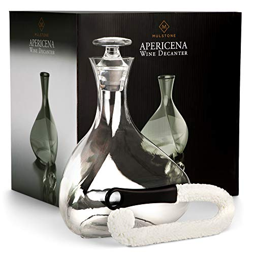 (MULSTONE - Apericena Wine Decanter & Aerating Carafe Set | 100% Lead-Free | Perfect Gift for Liquor Lovers | Premium Crystal Glass | With Stopper & Free Cleaner | For Wines, Vodka & Whiskey | 90 oz)