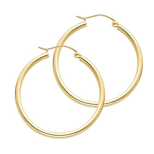 14k Yellow Gold 2mm Thickness Hinged Hoop Earrings - 10 Different Size Available