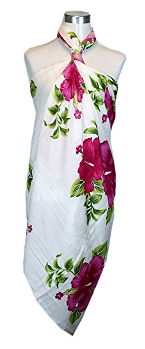 Pink Hibiscus (Aloha Fashion Women's Hawaiian Tropical Sarong Pareo In White Hibiscus Jumbo Pink)