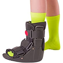 BraceAbility Short Air Ankle Walker Boot | Medical-Grade Orthopedic Foot Cast Brace for Sprained Ankle, Broken Foot, Toe Injury, Metatarsal Stress Fracture, Post Surgery, Achilles Tendonitis (Large)