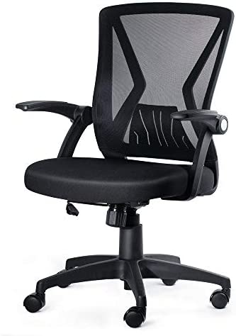 KOLLIEE Mid Back Mesh Office Chair Ergonomic Swivel Black Mesh Computer Chair Flip Up Arm