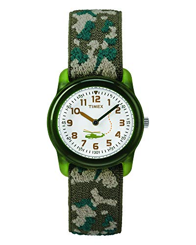 Timex Boys T78141 Time Machines Green Camo Elastic Fabric Strap Watch -
