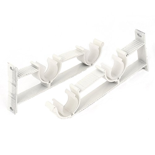uxcell® 1-inch Dia Double Clips Drapery Curtain Rod Wall Bracket White (Double Ceiling Bracket)