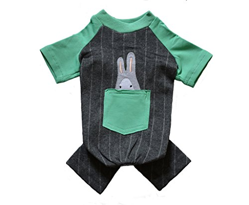 Small Dog Puppy Onesie 4-Leg Green and Grey Shirt Jumpsuit with Pocket and Rabbit on the Back Size M