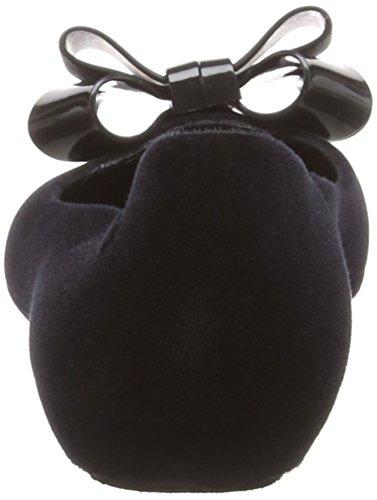 para Punta Zaxy Mujer Negro Bailarinas 52610 Luxe con Cerrada Black Pop Flock Bow wxw6Y8