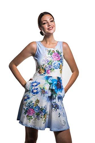 Dress Calison USA Tank Summer Large Flared Made Sleeveless Women's in Scoopneck HRwYrxRcqO
