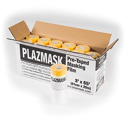 PlazMask Pre-Taped Masking Film, 3-Feet X 65-Feet, 12-Pack