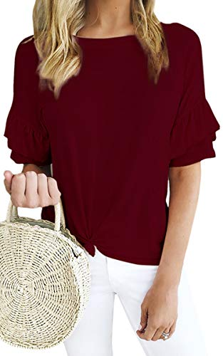 (ECOWISH Women's Casual Ruffles Short Sleeve Solid Tie Knot Front Loose Fit T Shirt Blouses Tops Wine Red X-Large )