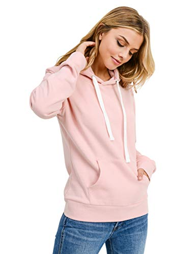 Pink Hoodie Sweatshirt - esstive Women's Basic Fleece Pullover Hooded Sweatshirt, Blush Pink, Medium