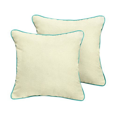 Mozaic Company Sunbrella Indoor/ Outdoor Corded Pillows, Canvas Natural and Canvas Aruba, Set of 2