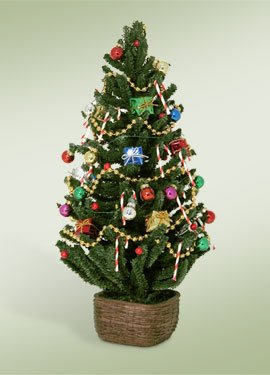 Christmas Victorian Tree - Byers' Choice Carolers Decorated Tree with Lights