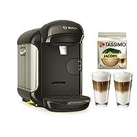 Bosch TASSIMO Vivy 2 Bundle + Latte Macchiato Gläser Set + TDisc Latte Macchiato (Schwarz) [Energieklasse A]