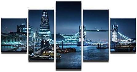 Impresiones en lienzo HD 5 paneles paisaje urbano pared arte pintura hermosa ciudad noche vista imprimir imagen para sala dormitorio decoración 200x100 cm