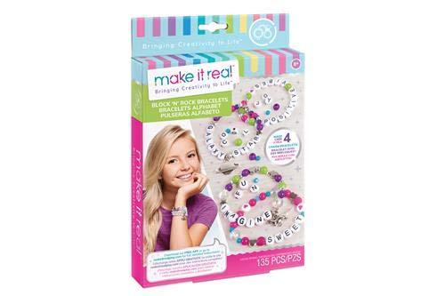 Make It Real Block n' Rock Bracelets. DIY Alphabet Letter Beads & Charms Bracelet Making Kit for Girls. Arts and Crafts Kit to Design and Create Unique Tween Bracelets with Letters, Beads & Charms   B079K4C655