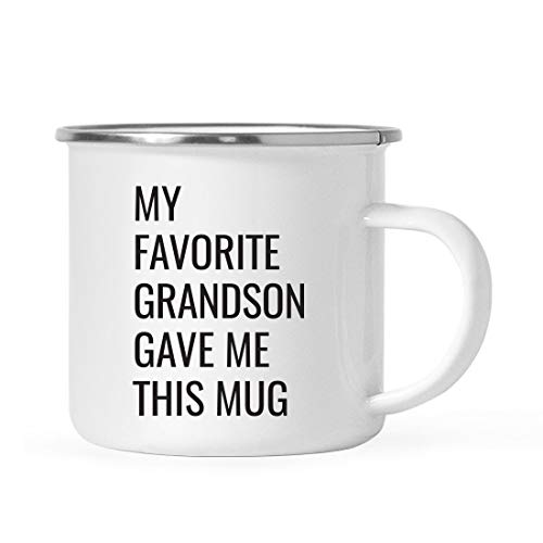 Andaz Press 11oz. Stainless Steel Funny Campfire Coffee Mug Gag Gift, My Favorite Grandson Gave Me This Mug, 1-Pack, Grandpa Grandma Birthday Christmas Sarcastic Humor Metal Camping Cup Gift Ideas (Best Grandpa Gift Ideas)