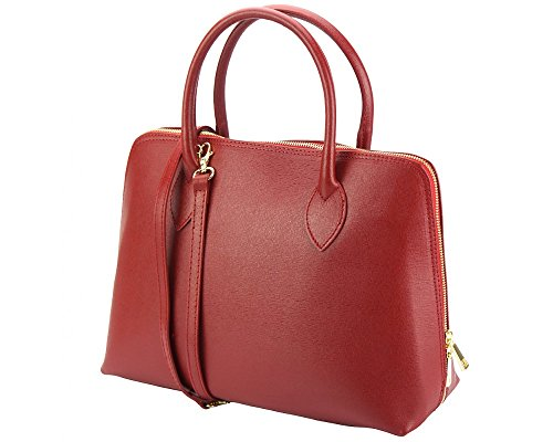 Vibrant Red Leather - Beautiful Soft Saffiano Italian Leather Designer Inspired Tote Handbag (Red)