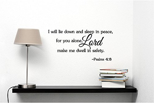 I will lie down and sleep in peace, for you alone, Lord, make me dwell in safety Psalms 4:8 religious wall quotes arts sayings vinyl decals by Epic Designs (Image #1)